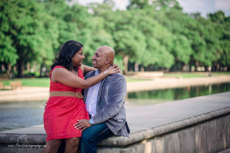 Indian Romantic Engagement photo at Herman Park