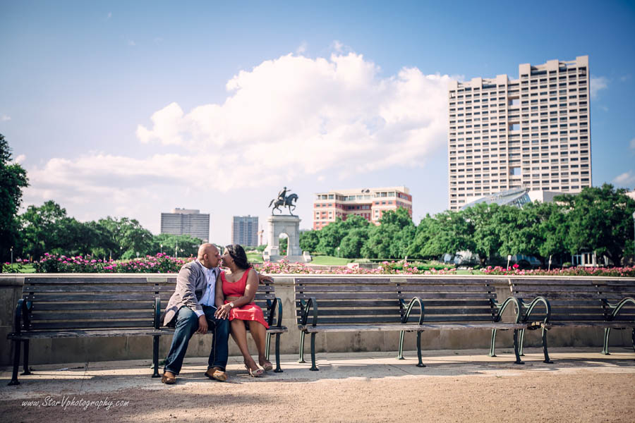 Houston Engagement photo at Herman Park