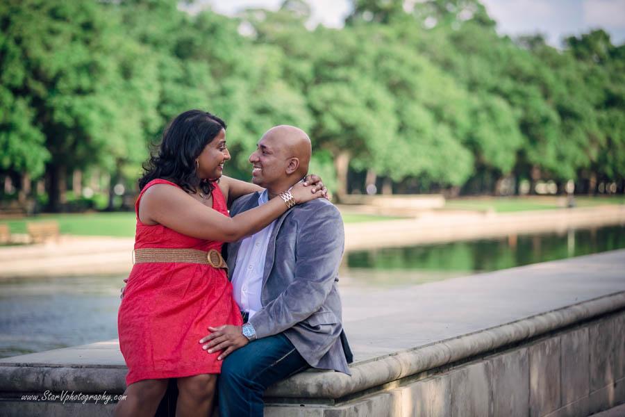 Indian Romantic Engagement photo at Herman Park