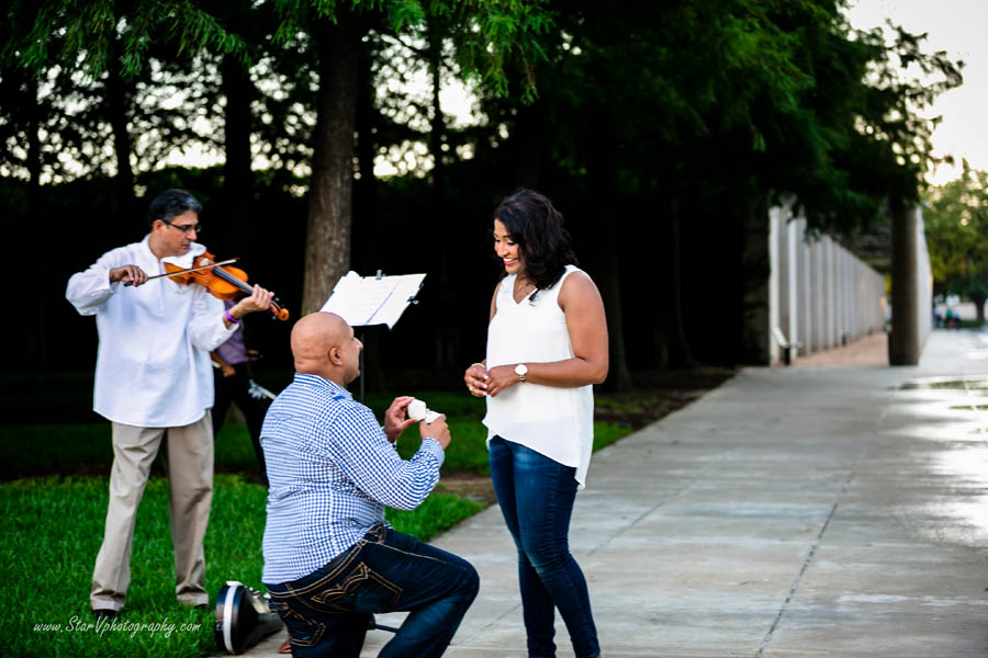 Romantic Indian Engagement photo at Texas A&M University park